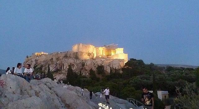 The Acropolis lit up