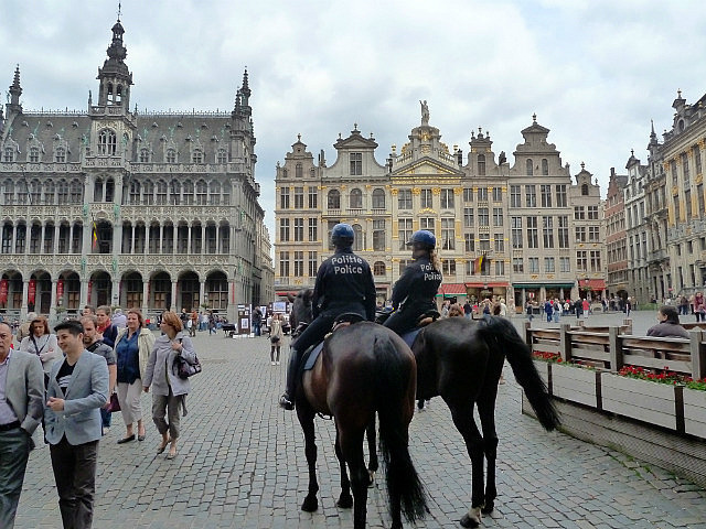 Police on horse in the square