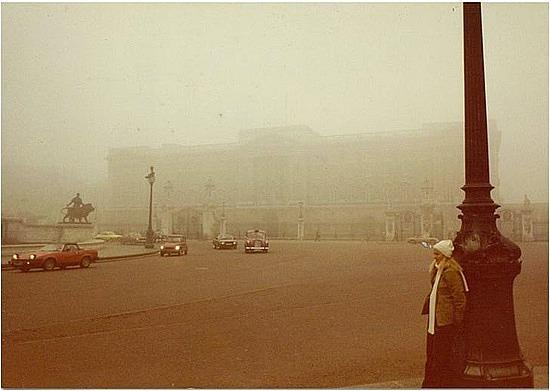 Buckingham Palace in the fog