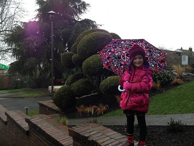 Alaiya with her new umbrella