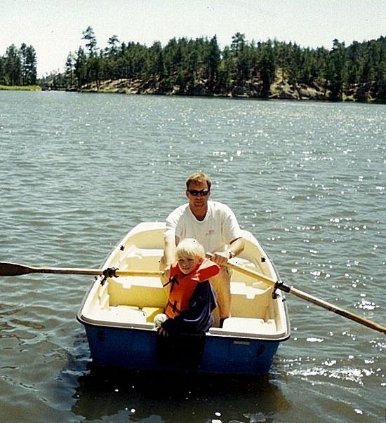Brad & Nath rowing  Lake Sylvan