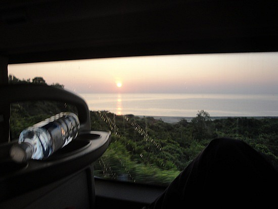 Sunrise from sleeper bus window