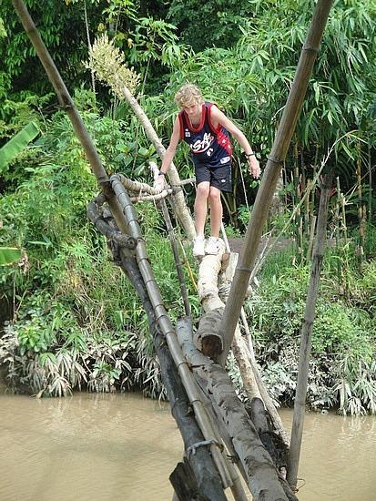 Nath on a monkey bridge