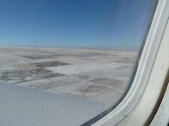 Snowy landscape flying into Denver