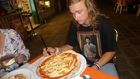 Nathan and his chip pizza