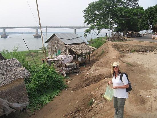 Leigh near bridge over Mekong