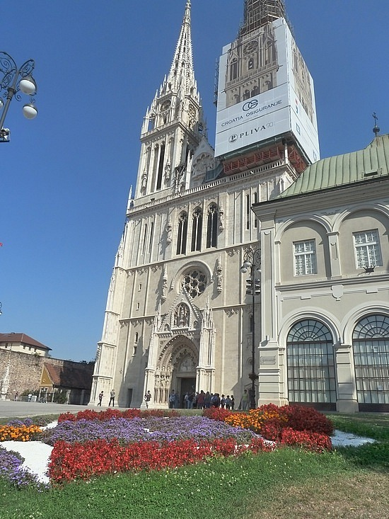 Cathedral and flowers
