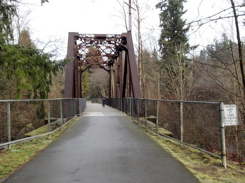 Papa ahead on the bridge