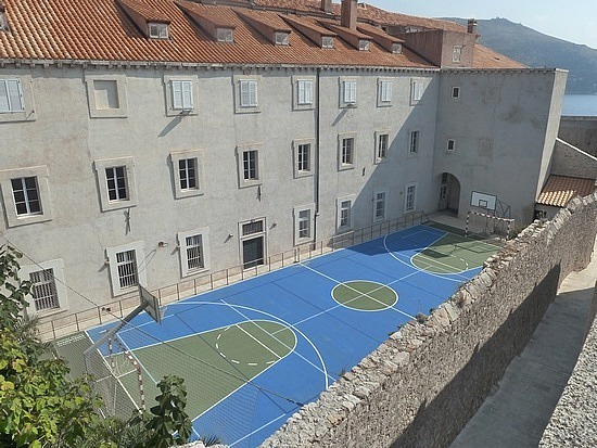 Basketball court squeezed in