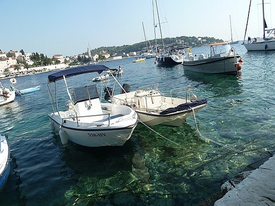 Clear water under the boats