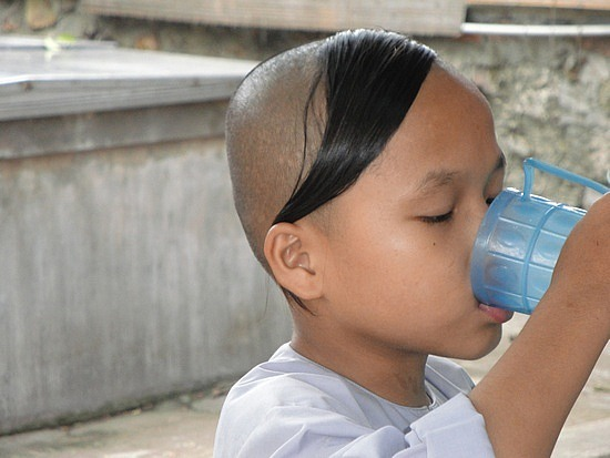 Special monk in training hairdo