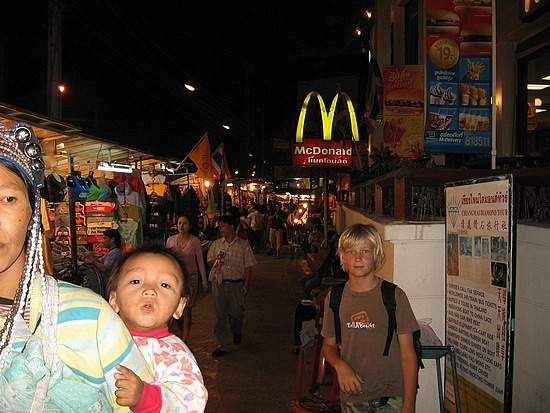 Night markets with Golden arches in background