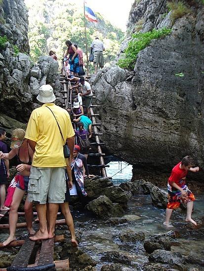 Climbing ladder to Loh Sama Bay