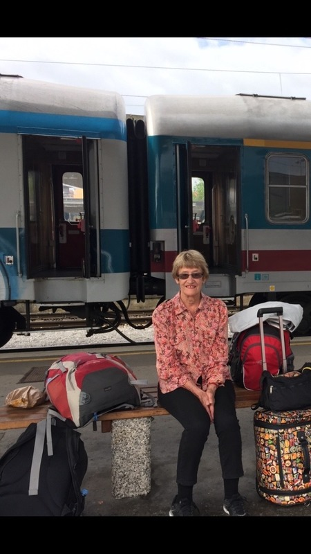 Mum at the station with our luggage