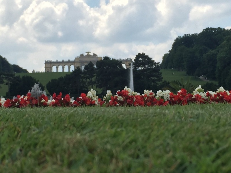 Gardens and Gloriette viewing Terrace  on the hill