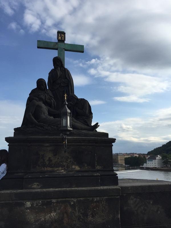 Statues on bridge