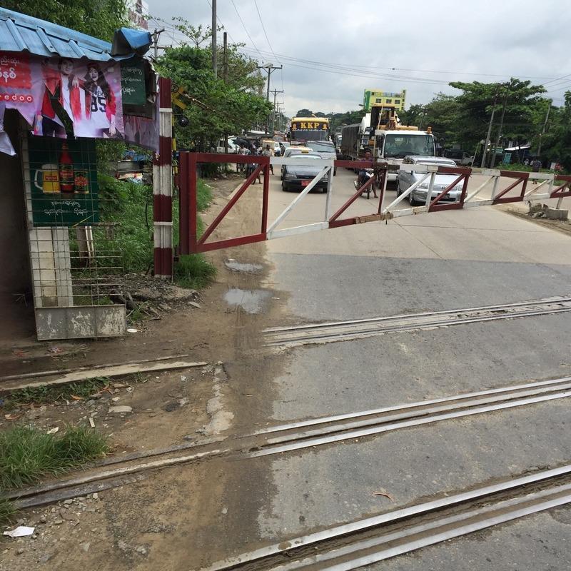 Train gates across the road