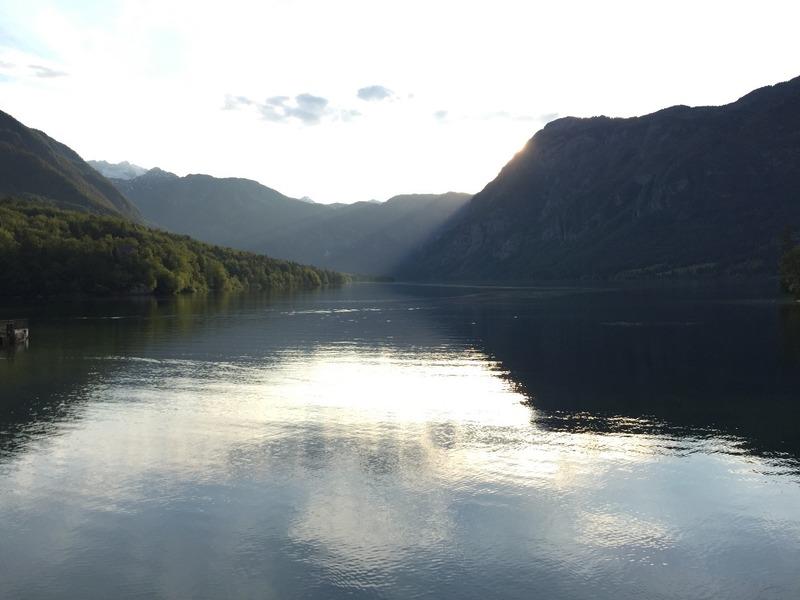 Lake Bohinjsko with the sun setting