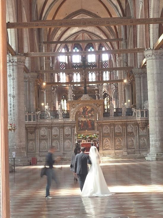 Inside the massive church