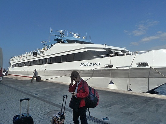 Mum disembarked from our boat