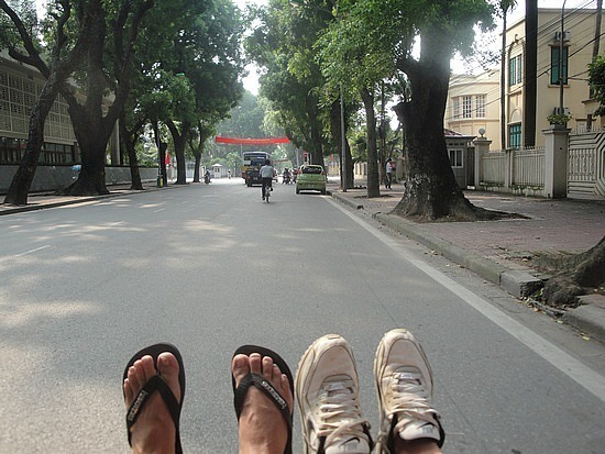 Our feet on the cyclo