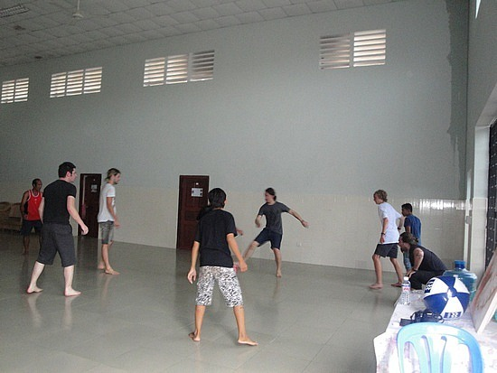 Boys playing indoor-soccer