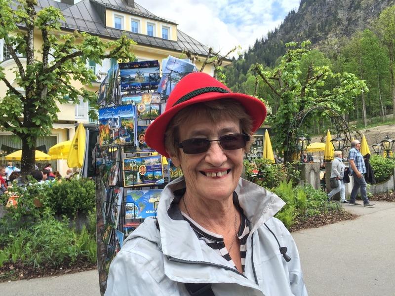 Mum modelling a bavarian hat