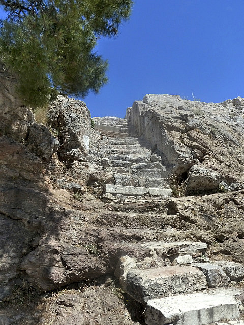 Stairs in marble up to Mars Hill