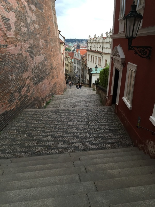 Steps down to town from the castle