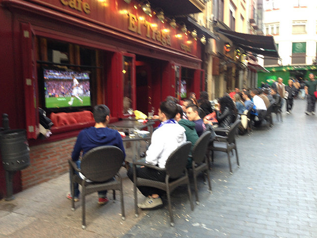 Out in the streeets watching the big game