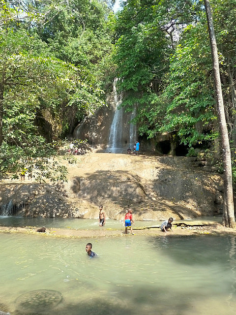 Locals enjoying the waterfall - i joined them!