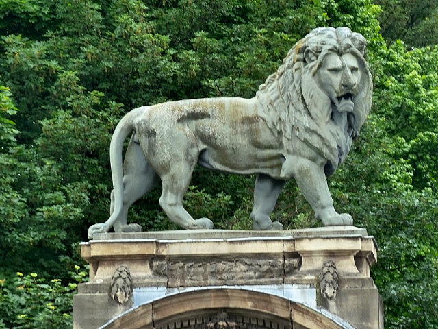 Lion statue at back entrance of palace
