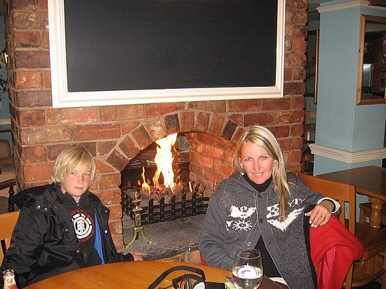 Warming by the fire at the local