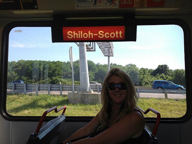 Leigh on the train