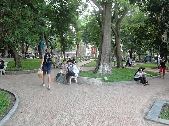 People relaxing in the park