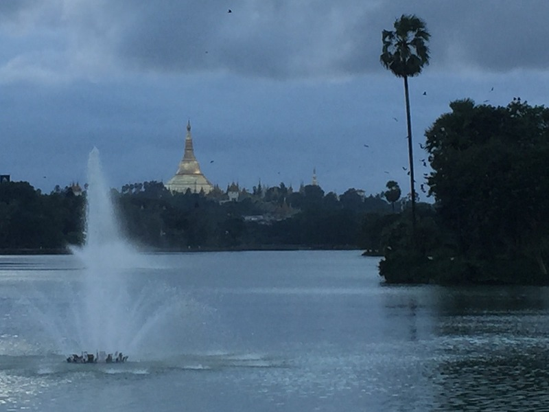 View from lake to pagoda