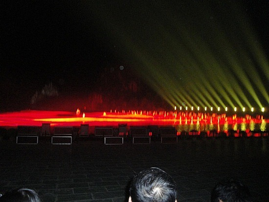 Reibbons across the water, fishermen & lights