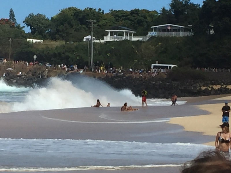 Huge white water on the beach