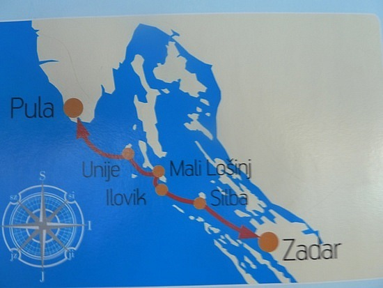 Map of where we went on the boat