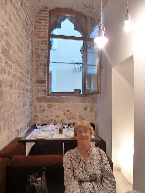 Mum at dinner in Split