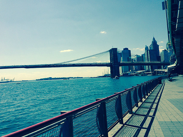 Looking back to the Brooklyn Bridge