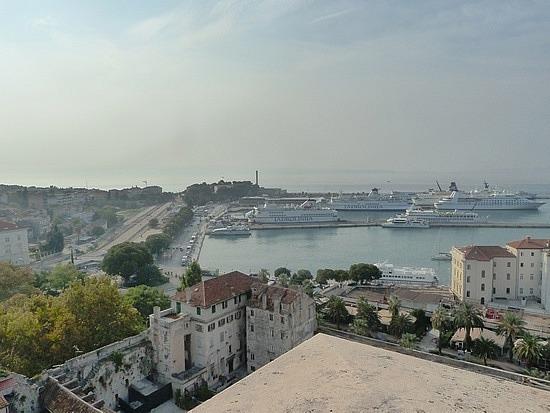 View over port of Split