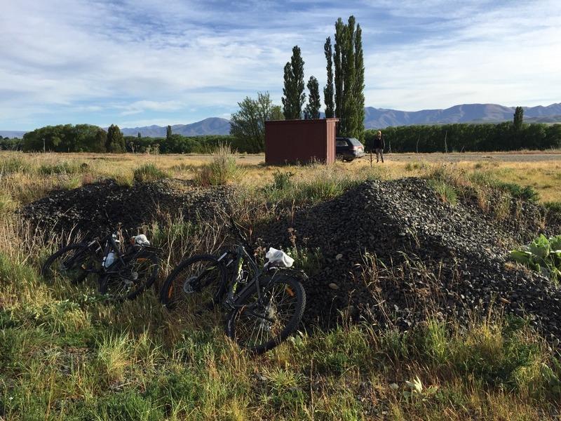 Our bikes hidden behind the rocks