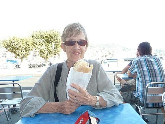 Mum with her Jambon sandwich