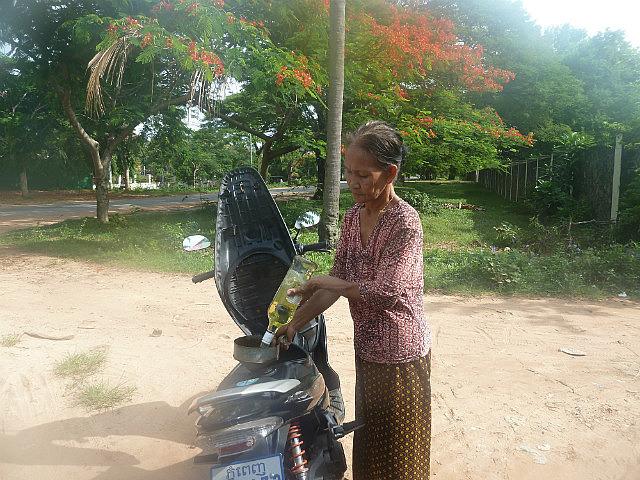Filling up my motorbike