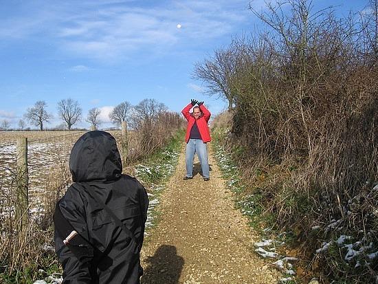 Stephen throwing snowballs