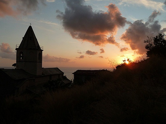 Sunset over the town