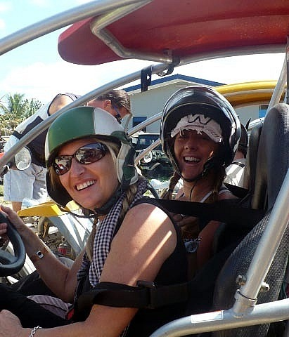 Leigh & I swapping drivers