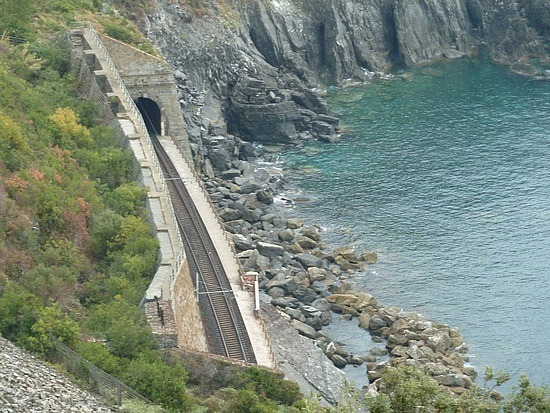 Glimpse of the railway track and tunnel