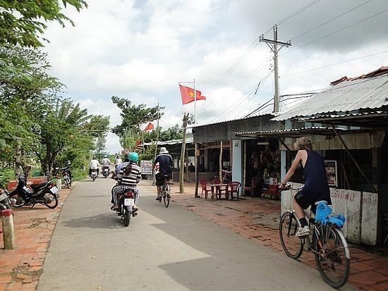 Flying the Vietnamese flag